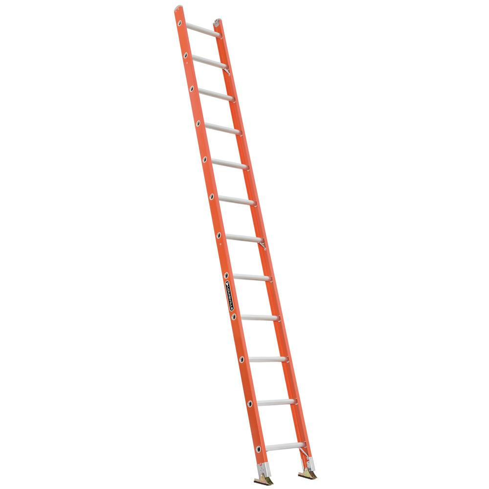 12 ft. Fiberglass Single Ladder with 300 lbs. Load Capacity Type