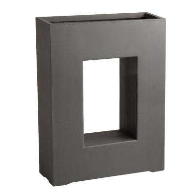 Drake 20-1/2 in. x 10-1/2 in. Dark Gray Fibreclay Pot