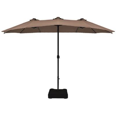15 ft. Steel Double-Sided Solar LED Market Patio Umbrella in Tan with Crank Base