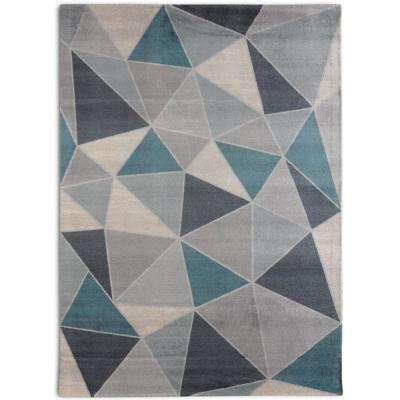 Confetti Mid-Century Modern Geometric Teal 7 ft. 6 in. x 9 ft. 6 in.  Area Rug