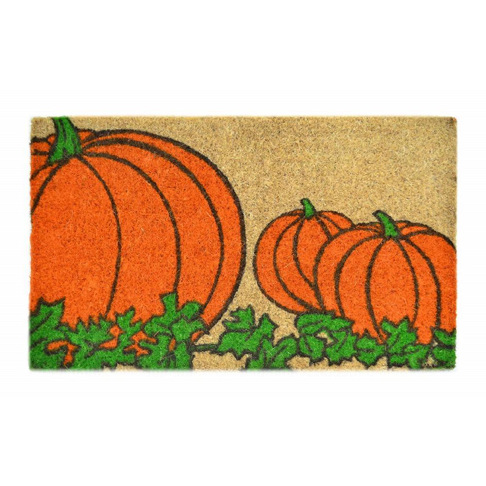 Stenciled Mat Pumpkin 18 in. x 30 in. Coir Door Mat