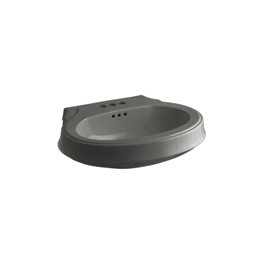 KOHLER Leighton 4-1/8 in. Pedestal Sink Basin in Thunder Grey-DISCONTINUED