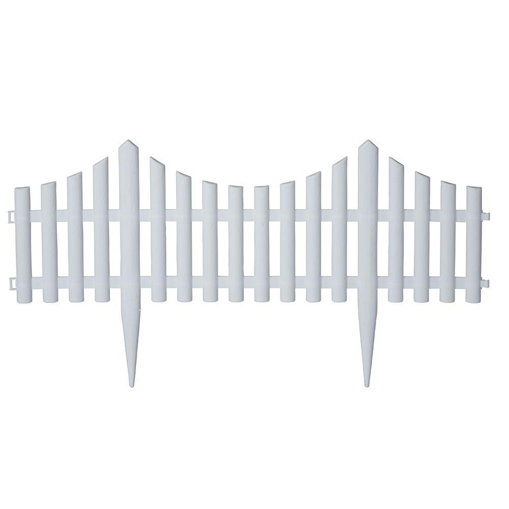 Emsco 24 in Resin Picket Garden Fence 18Pack2140HD The Home Depot