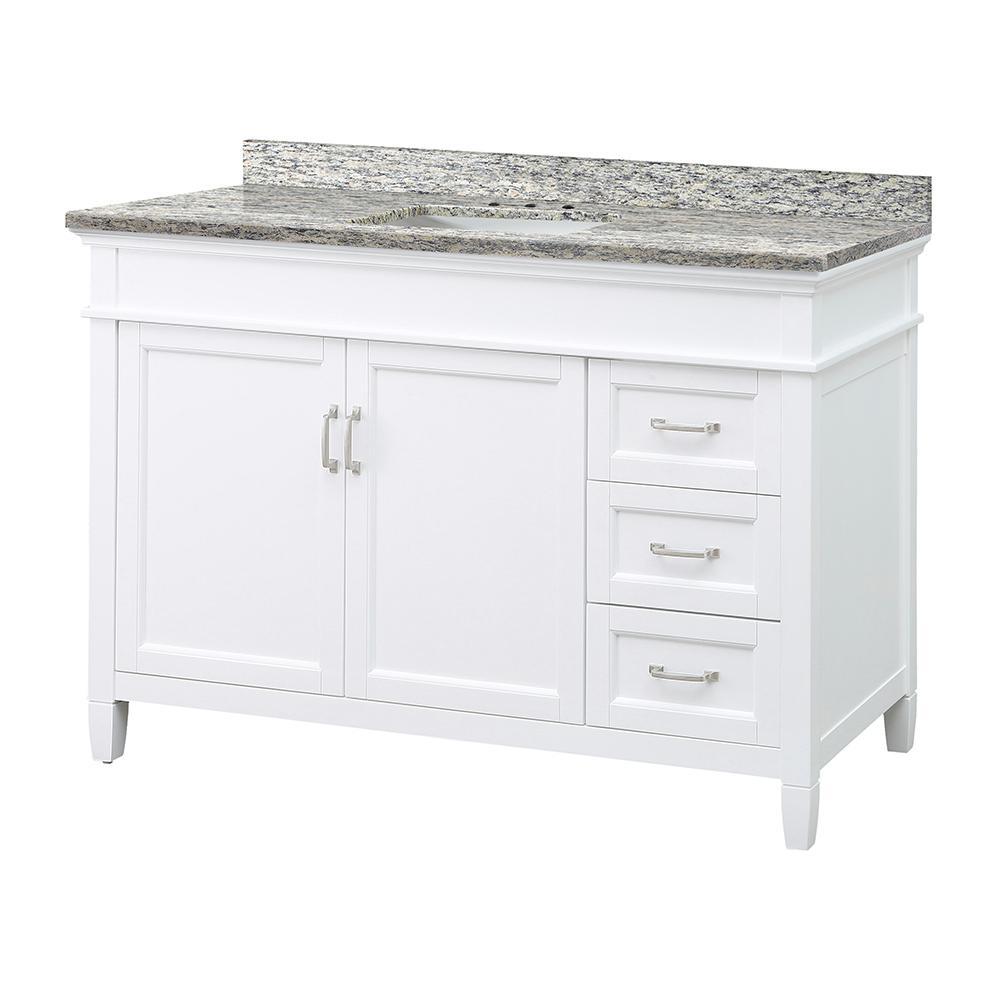 Ashburn 49 in. W x 22 in. D Vanity in White with Granite Vanity Top in Santa Cecilia with White Sink