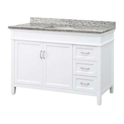 Ashburn 49 in. W x 22 in. D Vanity in White with Granite Vanity Top in Santa Cecilia with White Sink