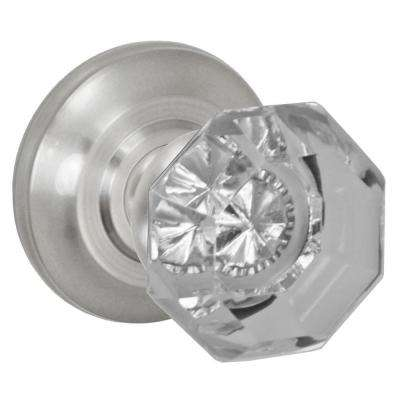 Brushed Nickel Victorian Clear Passage Set Knob with Cambridge Rose