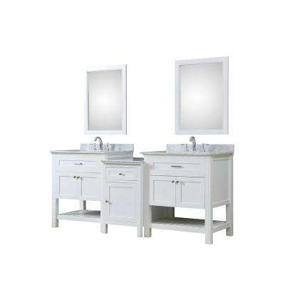 Hybrid Bath Makeup 83 in. W Vanity in White with Marble Vanity Top in White Carrara with White Basins and Mirrors