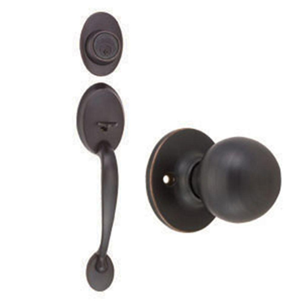 Design House Coventry Oil Rubbed Bronze Door Handleset With Ball Knob  Interior And Single Cylinder Deadbolt 791681   The Home Depot