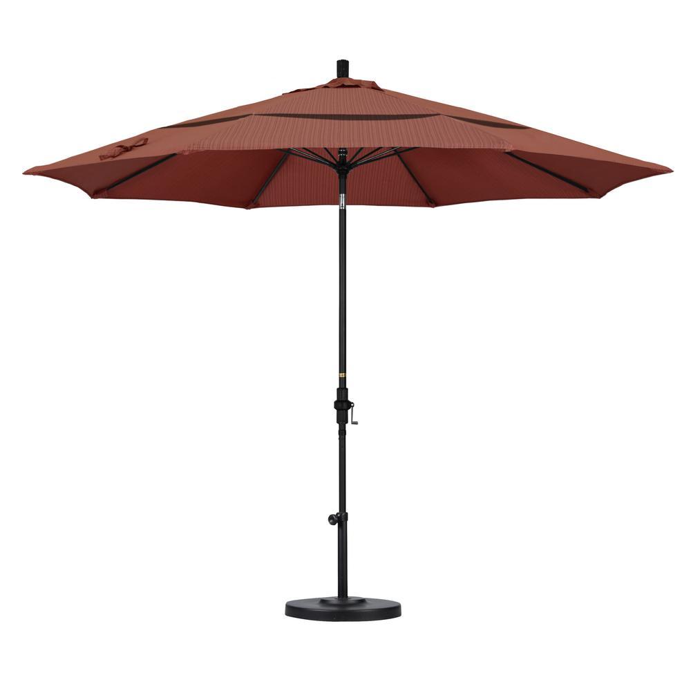 11 ft. Fiberglass Collar Tilt Double Vented Patio Umbrella in Terrace Adobe Olefin