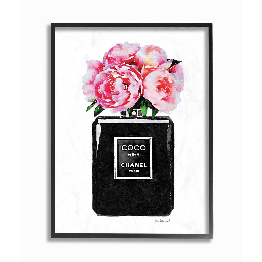 11 In X 14 In Glam Perfume Bottle Flower Black Peony Pink By