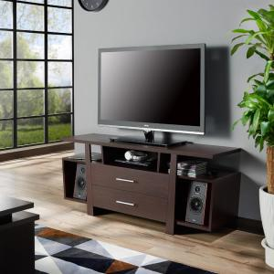 Furniture of America Citron 60 Inch Wood TV Stand with 2-Drawer Fits TVs Up to 66 Inch with Cable Management (Espresso)