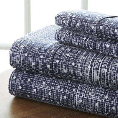 Polka Dot Patterned 4-Piece Navy King Performance Bed Sheet Set