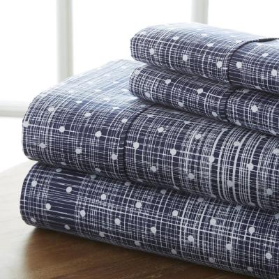 4-Piece Navy Geometric Microfiber Queen Sheet Set