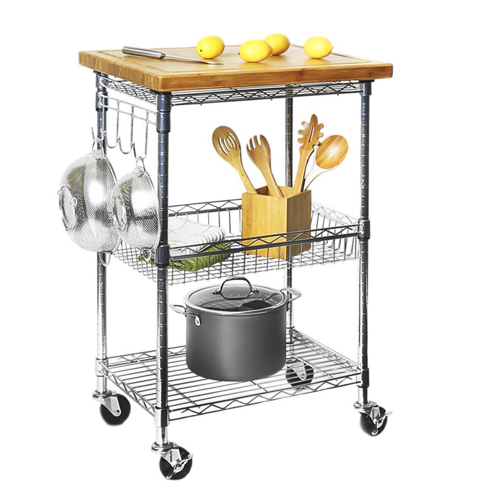 3-Tier 24 in. W x 20 in. D x 36.5 in. H Solid-Bamboo Top Prep Table Kitchen Island Cart