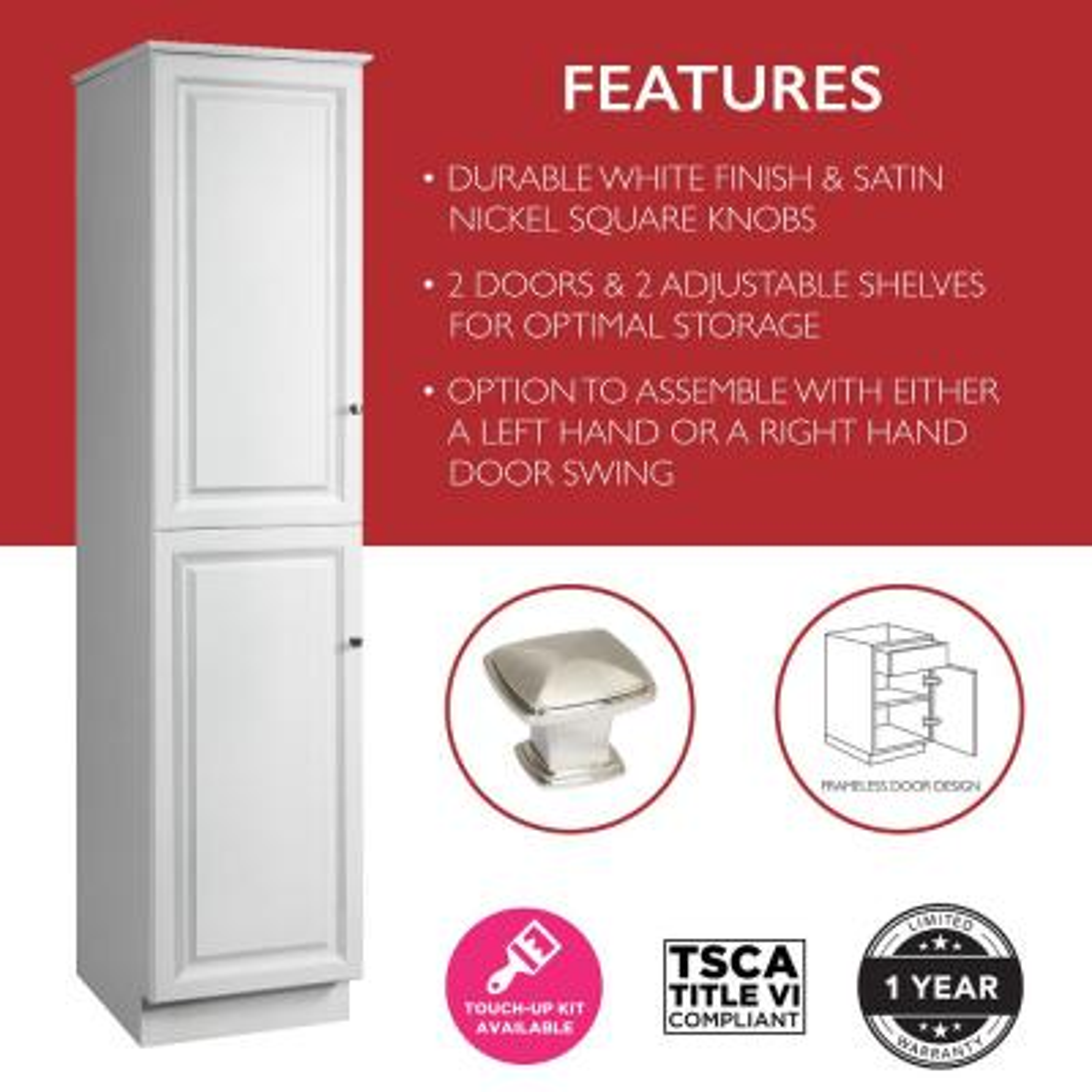 Wyndham 19 in. W x 84 in. H x 22 1/2 in. D 2-Door Bathroom Linen Storage Floor Cabinet Unassembled in White