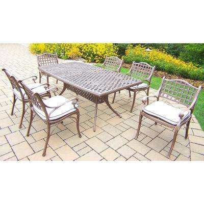 Elite 7-Piece Aluminum Outdoor Dining Set with Oatmeal Cushions