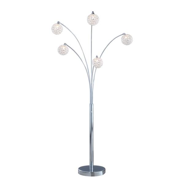 Manhattan 84 in. Modern Chrome 5-Arc Crystal Ball Floor Lamp with Dimmer