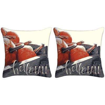16 in. x 16 in. x 5 in. Hello Fall Toss Pillows (Set of 2)