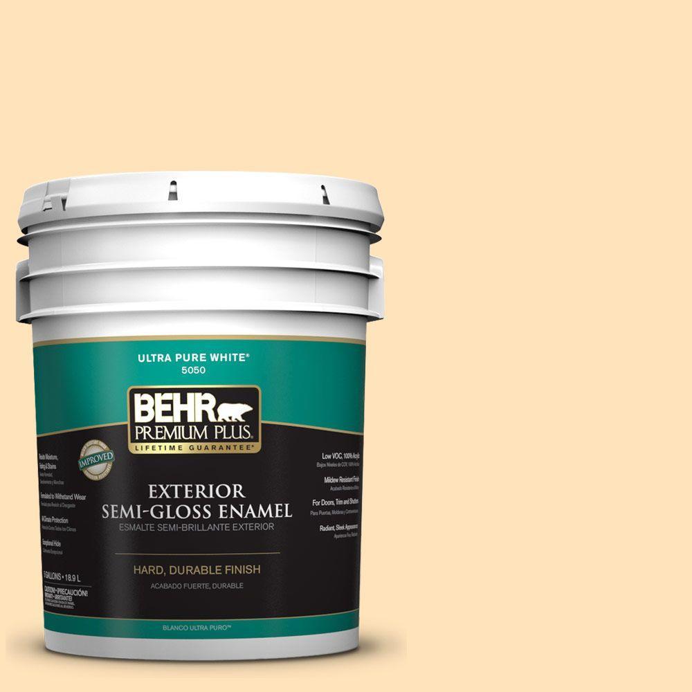 BEHR Premium Plus 5-gal. #ICC-91 Lemon Whip Semi-Gloss Enamel Exterior Paint