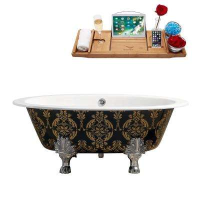 65 in. Cast Iron Clawfoot Non-Whirlpool Bathtub in Green and Gold