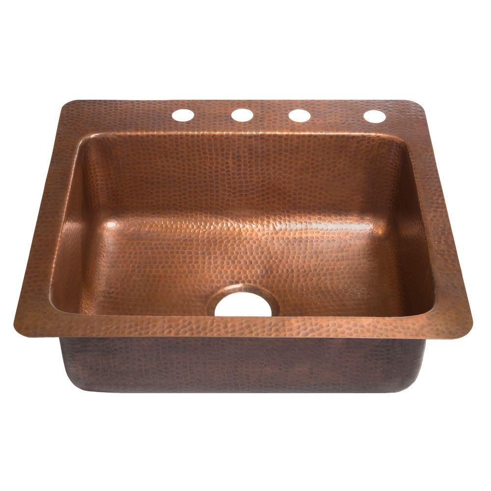 SINKOLOGY Kahlo Drop-in Handmade Pure Solid Copper 25 in. 4-Hole Single Basin Copper Kitchen Sink in Antique Copper