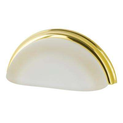 3 in. Cup Crystal Frosted on Center in Polished Brass Drawer Pull