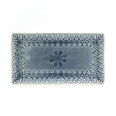 Peacock Rectangular Platter in Grey