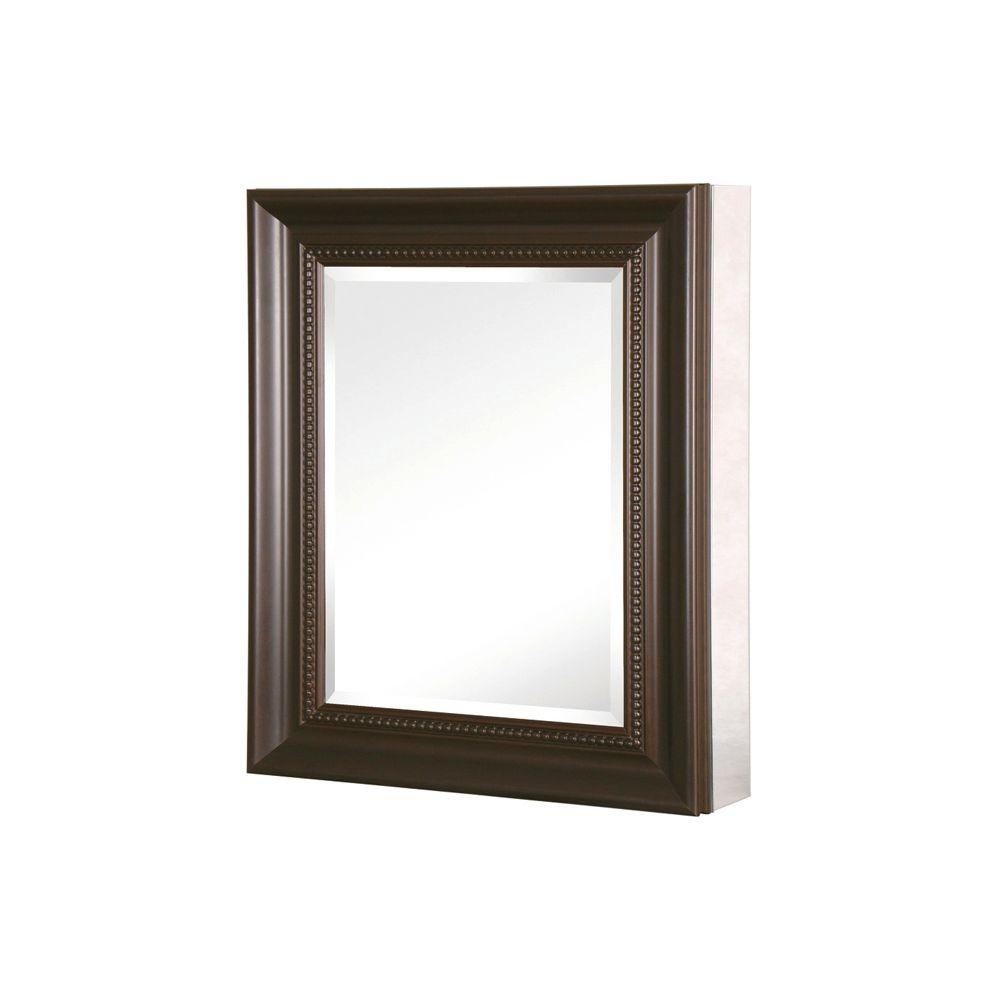 Bronze bathroom medicine cabinet mirror 24 x 30 in recessed surface mount framed 638908061061 ebay for Bronze framed bathroom mirror