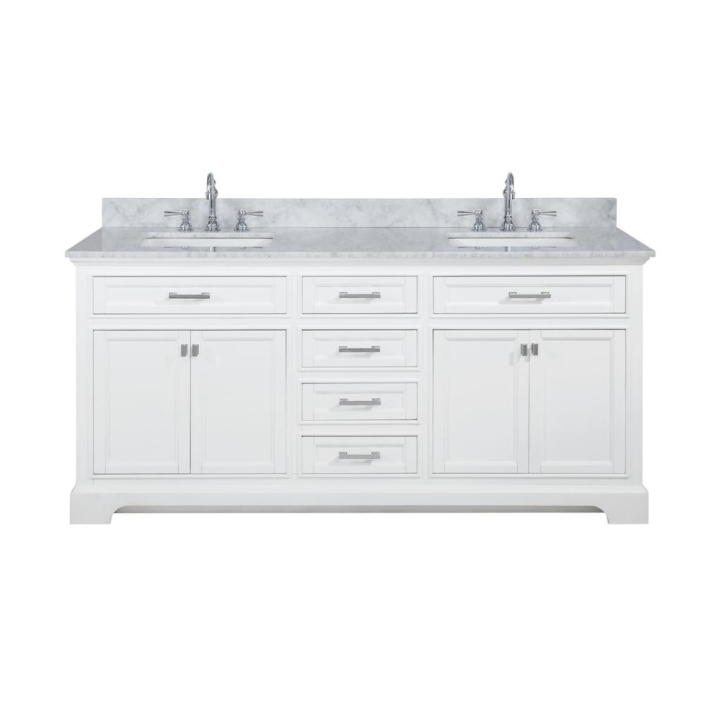 Design Element Milano 72 In W X 22 In D Bath Vanity In White With Carrara Marble Vanity Top In White With White Basin Ml 72 Wt The Home Depot