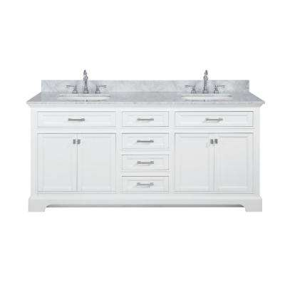 Milano 72 in. W x 22 in. D Bath Vanity in White with Carrara Marble Vanity Top in White with White Basin