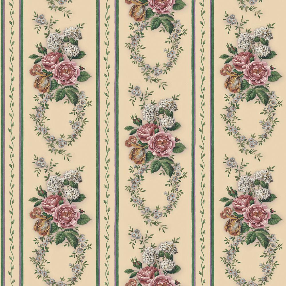The Wallpaper Company 56 sq. ft. Jewel Tone Floral Stripe Wallpaper