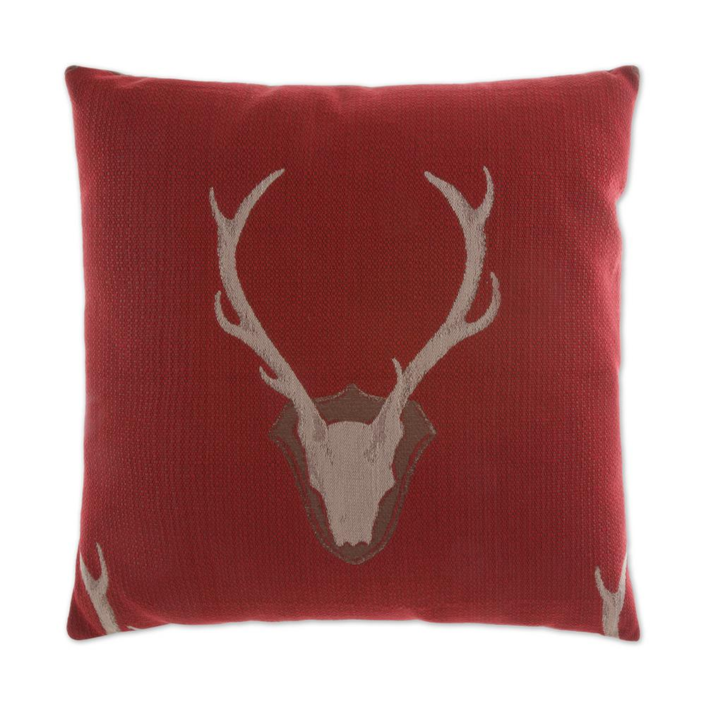 Uncle Buck Red Feather Down 24 In X Standard Decorative Throw Pillow