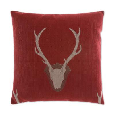 Stag Red Down 24 in. x 24 in. Decorative Throw Pillow