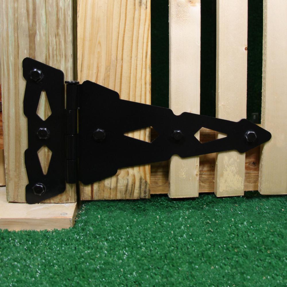 8 in. Black Heavy Duty Decorative Tee Hinge (2-Pack)