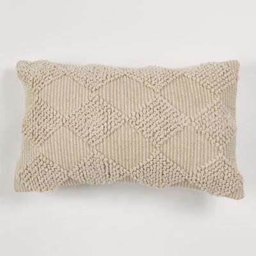American Colors Handwoven Raised Diamond Ivory Textured Pillow