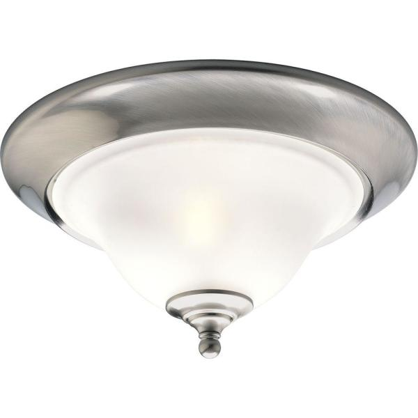 Trinity 2-Light Brushed Nickel Flush Mount with Etched Glass
