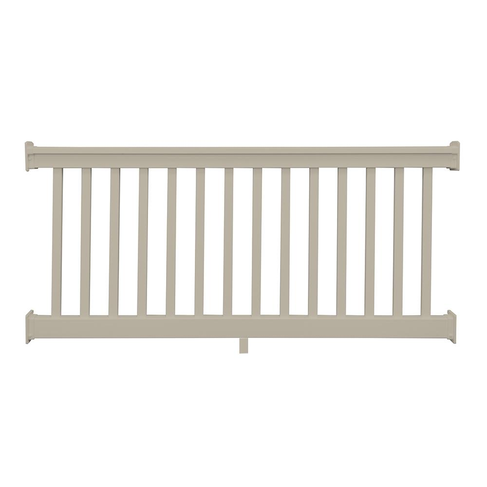 Weatherables riviera 36 in x 96 in khaki vinyl straight railing kit ckr t36 e8 the home depot - Vinyl railing reviews ...