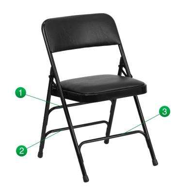 Hercules Series Curved Triple Braced & Double Hinged Black Vinyl Upholstered Metal Folding Chair