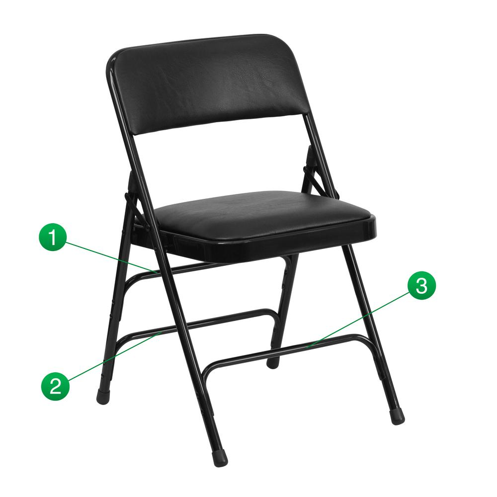 Flash Furniture Hercules Series Curved Triple Braced U0026 Double Hinged Black  Vinyl Upholstered Metal Folding Chair