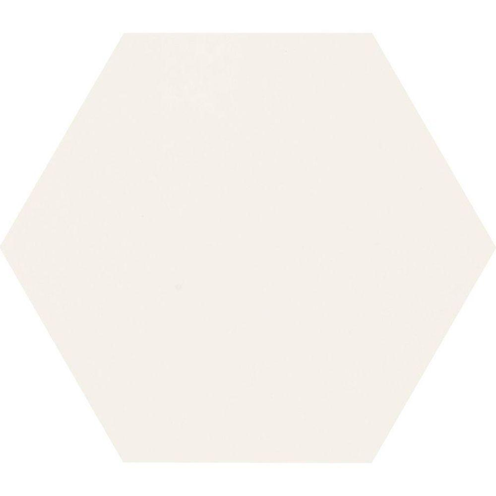 Daltile Semi Gloss White Hexagon 4 in. x 4 in. Glazed Ceramic Wall ...