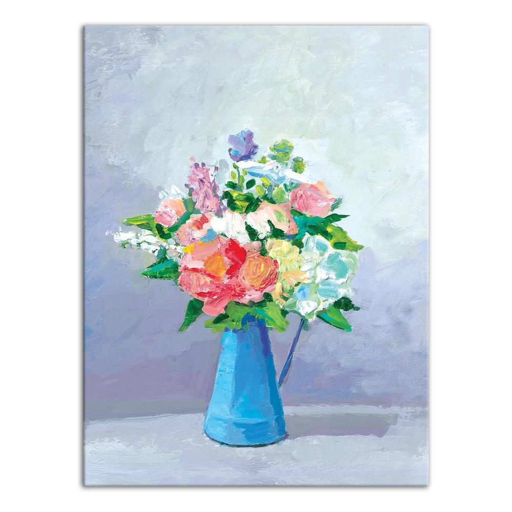 Designs Direct 18 In X 24 In Blue Pitcher Of Soft Spring Flowers