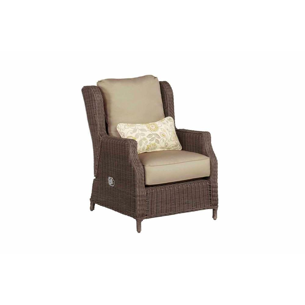 Brown Jordan Vineyard Patio Motion Lounge Chair in Meadow with Aphrodite Spring Lumbar Pillow -- STOCK