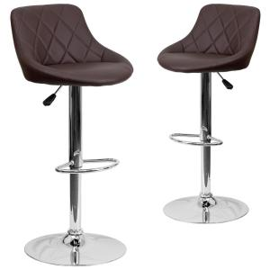 Groovy 32 In Brown Bar Stool Set Of 2 Ncnpc Chair Design For Home Ncnpcorg