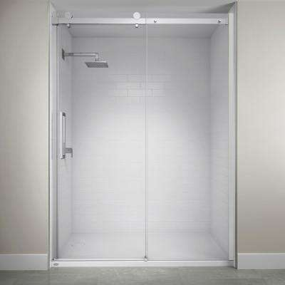 60 in. x 79 in. Semi-Frameless Exposed Sliding Shower Door in Chrome