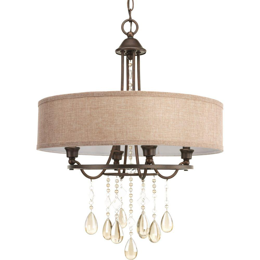 Progress Lighting Flourish Collection 20 25 In 4 Light Cognac Bronze Chandelier With Linen Shade