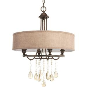 Progress Lighting Flourish Collection 4 Light Cognac Bronze Chandelier With Linen Shade P5169 72di The Home Depot