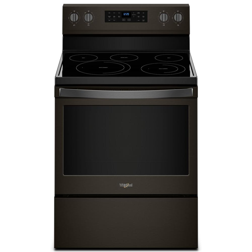 Whirlpool 5 3 Cu Ft Electric Range With Self Cleaning Convection Oven In Black Wfe550s0hb The Home Depot