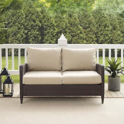 Kiawah Wicker Outdoor Loveseat with Sand Cushions
