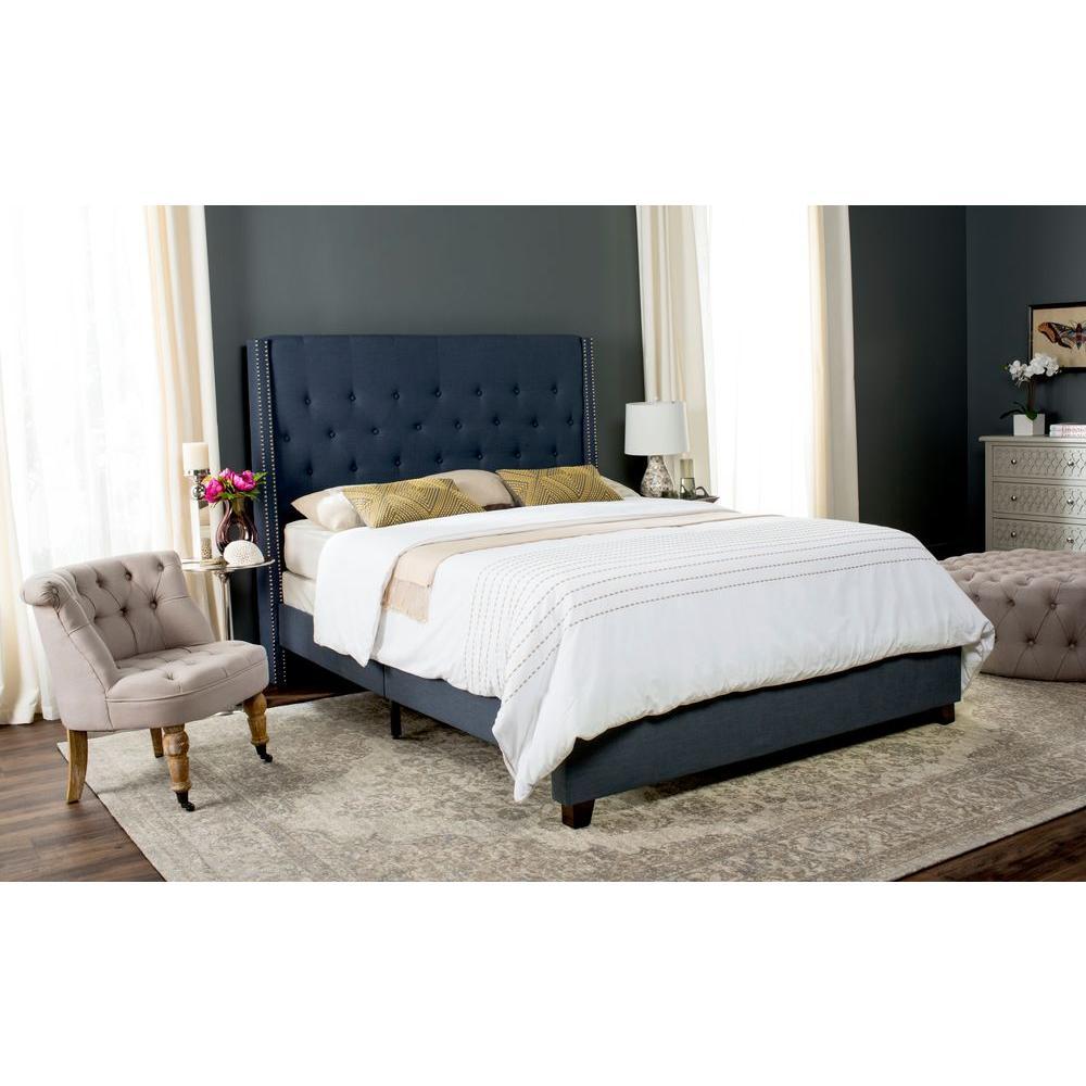 Winslet Navy Queen Upholstered Bed