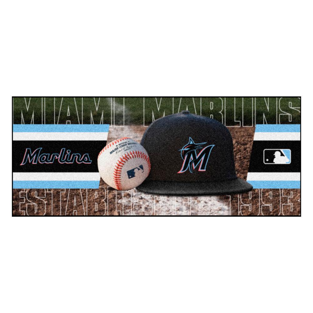 Miami Marlins 3 ft. x 6 ft. Baseball Runner Rug